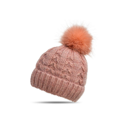 Caspar Bommelmütze MU144 Damen warme Winter Strick Mütze mit Fellbommel rosa