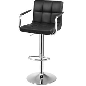 SONGMICS Barhocker, höhenverstellbarer Barstuhl, mit PU-Bezug, 360° Drehstuhl, Küchenstuhl mit Armlehnen, Rückenlehne und Fußstütze, verchromter Stahl, schwarz LJB93B-1