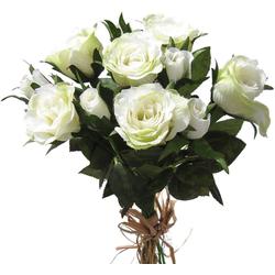 Kunstblume Kleiner Rosenstrauß gebunden Blumenstrauß 27 cm 1 Stk weiß Rosen, matches21 HOME & HOBBY, Höhe 27 cm, Indoor weiß