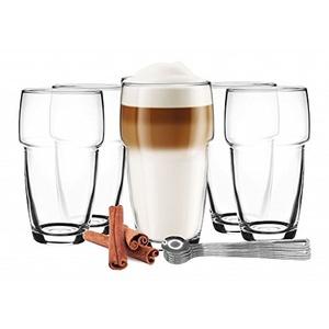 Sendez 6 stapelbare Latte Macchiato Gläser 300ml Kaffeegläser + 6 Edelstahl-Löffel