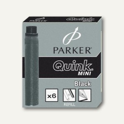 Parker Tintenpatronen Quink Mini schwarz, 6 Stück, S0767220