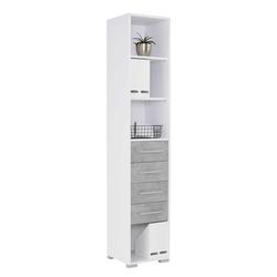 Schmales Büroregal in Weiß und Grau 215 cm hoch