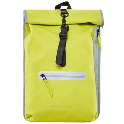 Rains Rucksack RAINS LTD Roll Top Rucksack stylischer Tages-Rucksack mit Laptopfach Freizeit-Ausrüstung 18L Neon-Gelb