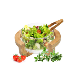 Sendez Salatschüssel Salatschale inkl. Salatbesteck und Gestell Salatschüssel Schüssel Servierschale, Glas