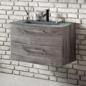 Waschbeckenunterschrank in Eiche Grau 80 cm breit