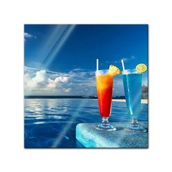 Bilderdepot24 Glasbild, Glasbild - Cocktail am Swimmingpool 20 cm x 20 cm