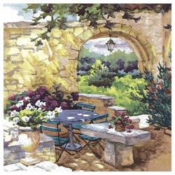 Linoows Papierserviette 20 Servietten, Ein Morgen in der Provence französi, Motiv Ein Morgen in der Provence französische Szene