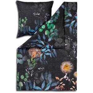 ESTELLA Bettwäsche Midnight Bunt Blau Blumen Blüten Geblümt Zweige Aquarell Mako-Satin