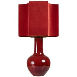 Casa Padrino Luxus Porzellan Tischleuchte Rot 50 x 50 x H. 92 cm - Handgefertigte Tischlampe mit Lampenschirm