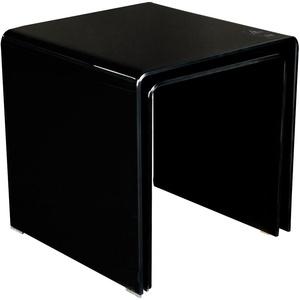 Glastisch 2tlg ausziehbar Wohnzimmer Esszimmer Küche Glas schwarz Tisch Beistelltisch BHP Alana B154076-4