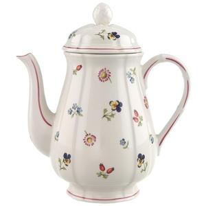 Villeroy und Boch - Petit Fleur Kaffeekanne, Porzellankanne aus Premium Porzellan mit filigranen Reliefs und blumig-fruchtigen Motiven, 1,25 Liter