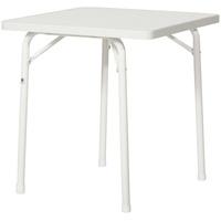 Sieger Garten-Klapptisch mit mecalit-Pro-Platte 70 x 70 x 72 cm weiß/Marmordekor weiß