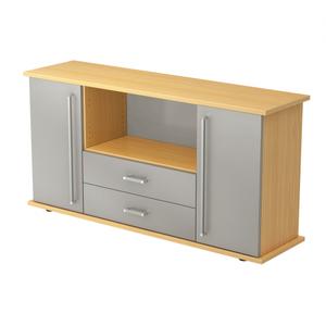 Hammerbacher Sideboard SB / 2 Türen und 2 Schubladen / Dekor: Buche/Silber / Griff: Chromgriff