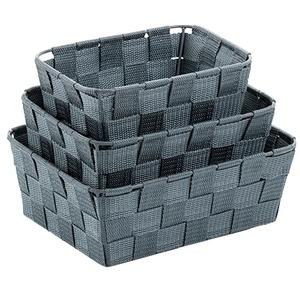 Korb-Set Alvaro PP-Faserband grau 3Stk