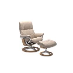 Stressless Ruhesessel mit Hocker Mayfair in Cori vanilla, Gestell Signature Eiche