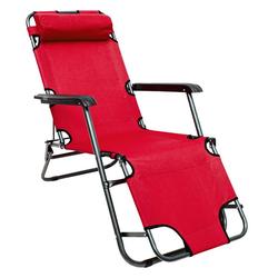 AMANKA Campingliege Campingstuhl Liegestuhl Freizeitliege Sonnenliege Campingliege Liege 153 cm Rot