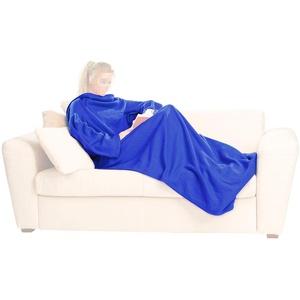 PEARL Decke mit Ärmel: Fleece-Kuscheldecke mit Ärmeln, blau (Kuscheldecke mit Ärmel)