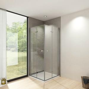 Duschkabine 80x80 Eckeinstieg Echtglas Dusche Falttür Duschabtrennung Duschwand