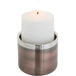 Fink Kerzenhalter VITO (1 Stück), aus Edelstahl, im modernen Design braun Ø 10 cm x 8 cm