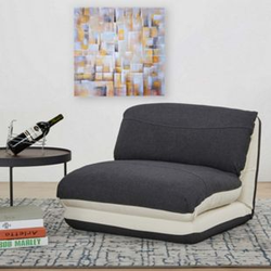 Schlafsessel MCW-E68, Schlafsofa Funktionssessel Klappsessel Relaxsessel, Stoff/Textil ~ creme/schwarz
