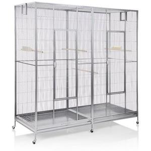 Montana Cages Vogelkäfig Sydney II - Platinum, Doppelvoliere, Vogelvoliere XXL Sydney Platinum für Wellensittiche, Finken, Kanarien, Nymphensittiche