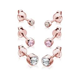 Elli Ohrring-Set (Set, 6 tlg) rund mit Kristalle rosa