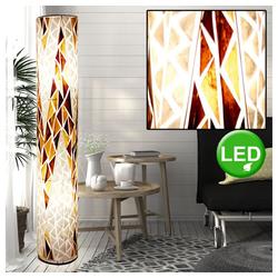 etc-shop Stehlampe, Stand Lampe rund Wohn Zimmer Textil Steh Leuchte braun im Set inkl.20 Watt LED Leuchtmittel