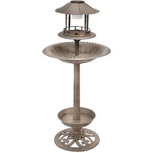 Design Vogel Tränke Brunnen SOLAR LED Beleuchtung Außen Dekoration bronze 105 cm