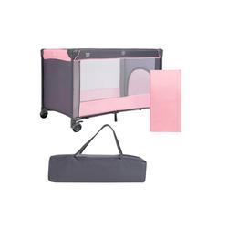 COSTWAY Babybett Reisebett, Kinderbett, 2 in 1 klappbar, mit Matratze und Tragetasche rosa
