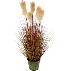 Kunstpflanze Pampasgras, I.GE.A., Höhe 105 cm, Im Metalltopf
