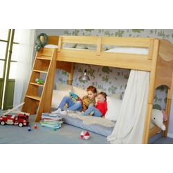 BioKinder - Das gesunde Kinderzimmer Hochbett Noah 90x200 cm, 100 cm Unterbetthöhe mit Roll-Lattenrost