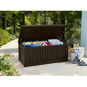 Keter Gartentruhe >>Rockwood<< braun Gartenbox Kissenbox Auflagenbox Kissentruhe