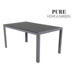 Pure Home & Garden FIRE XXL Polywood Alu-Gartentisch 180x90cm silber/grau
