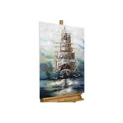 KUNSTLOFT Gemälde Ahoi Piratenschiff, handgemaltes Bild auf Leinwand