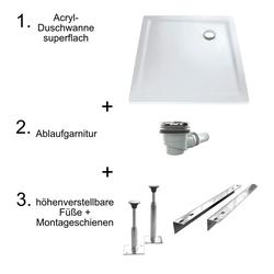 HSK Acryl-Duschwannen-Set, superflach 80 × 80 × 3,5 cm… Weiß