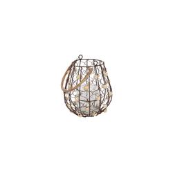 Parts4Living Windlicht Draht Windlicht mit Holzperlen und Rattanbügel 18x21 cm