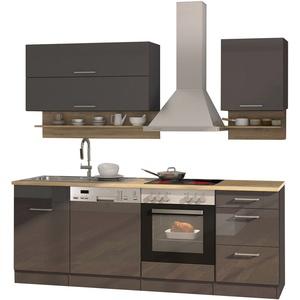 Küchenzeile mit Elektrogeräten Einbauküche Küchenblock mit E-Geräten 220 cm grau
