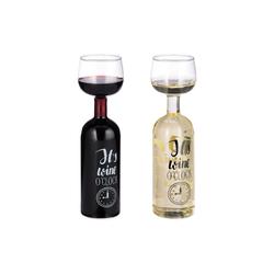 relaxdays Weinglas Weinflasche Glas Aufsatz 750 ml
