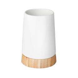 WENKO Bamboo Zahnputzbecher, Zur Aufbewahrung von Zahnbürsten und Zahnpasta, Maße: Ø 8,5 x 11,6 cm, Keramik