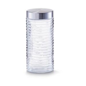 Zeller gerillt Vorratsglas, Glasbehälter mit hochwertigem Schraubdeckel aus Edelstahl, Fassungsvermögen: 1400 ml