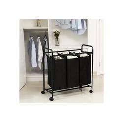 SONGMICS Wäschekorb LSF003B LSF003S, Wäschebehälter auf Rollen, Schwarz schwarz