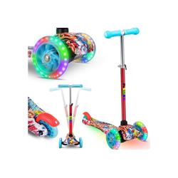 KIDIZ Cityrad, Kinder Scooter Pro1 Dreiradscooter mit PU LED Leuchtenden Räder Kinderroller Tret-Roller höhenverstellbarer Cityroller Kinderscooter für Kinder Jungen Mädchen ab 3-12 Jahre bunt