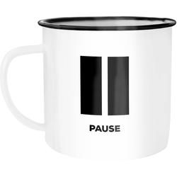 MoonWorks Tasse Emaille Tasse Becher Pause Bürotasse Kaffeetasse Auszeit Ruhe Kaffeetasse Moonworks®, emailliert und mit Aufdruck