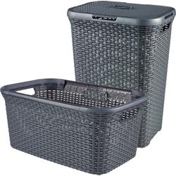 Curver Wäschekorb Style (Set, 2 Stück), Wäschebox (60L) und Wäschekorb (45L)