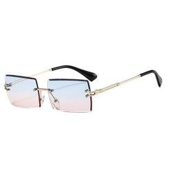 kueatily Retrosonnenbrille Randlose Sonnenbrille für Herren und Damen Rechteckige Brille UV400 Schutz Transparente Gläser Sonnenbrille Vintage Eyewear bunt