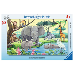 Ravensburger Rahmenpuzzle Tiere Afrikas - Rahmenpuzzle, 15 Puzzleteile bunt