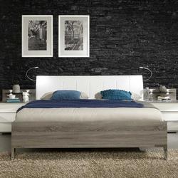 Bett mit Polsterkopfteil in Weiß Eiche