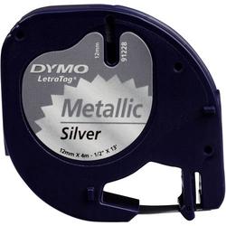 DYMO 91228 Schriftband Bandfarbe: Silber (metallic) Schriftfarbe: Schwarz 12mm 4m