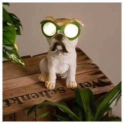 etc-shop LED Dekofigur, LED Solar Außen Bereich Deko Steh Lampe Hund Brille grün Dogge Figur Park Lampe