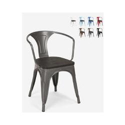 Chaises design industriel en bois et métal de style Tolix Cuisines de bar Steel Wood Arm | Gris